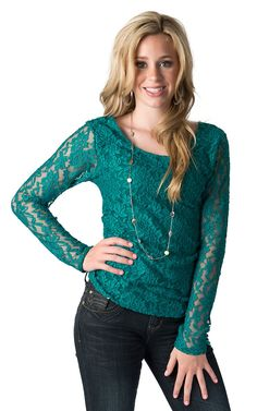 Panhandle Slim Junior's Peacock Teal Lace and Knit Long Sleeve Fashion Top