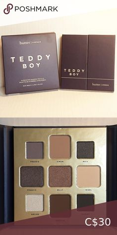 NIB TEDDY BOY EYESHADOW PALETTE New and never swatched. It was only removed to take pic. Colour:Freddie (matte grey-purple), Simon (matte soft taupe), Mick (matte grey), Francis (shimmering taupe), Billy (shimmering bronze), Nigel (matte light beige), Archie (white iridescent shimmer), Graham (matte dark brown), Rupert (matte black) Coverage & Finish:Matte and shimmer 🌼 I try to reuse packaging as much as possible 🌼 I love to bundle to help you save money 🌼 Don't be shy; I can't accept… Teddy Girl, Teddy Boys, Butter London Eyeshadow Palette, Butter London Teddy Boy, Colorful Eyeshadow, Light Beige, Makeup Eyeshadow, Blue And Silver, Matte Black