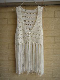 """Crochet Fringe Vest Top Summer Beach Bikini Cover Up Hippie Clothes Ideal for layering, go perfectly with beach dree, swimwear, crochet bikini set So bohemian chic! elegant sexy piece, made with acrylic cotton yarn  measured 35-36"""" in bust,16"""" in length and 27"""" long with tassels. will fit a S-M size"""
