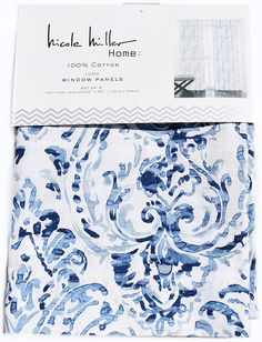 AmazonSmile: Nicole Miller Pair of Curtains Mirabelle Gouache Paisley Aquarelle 2 window panels 52 by 96-inch Navy Blue Turquoise Aqua Beige White: Home & Kitchen