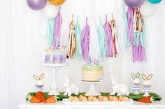 Lavender mint white rose gold/copper tissue paper banner