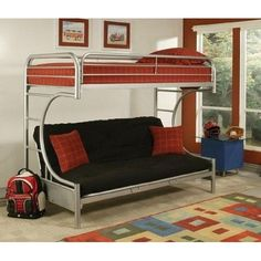 Acme 02091-SI Eclipse Twin/Full Bunk Bed, Silver  #Eclipse #collection twin/full #bunk #bed is made of metal tube. Made in china. This product weighs 122-pound. Available in silver color. Measures 78-inch length by 41-inch width by 65-inch height.