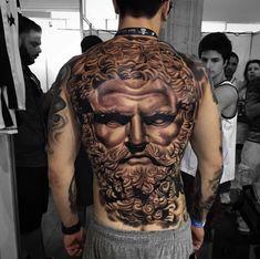 Large Zeus Tattoo on Back by Chico Morbene
