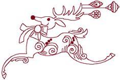 Redwork Prancing Reindeer