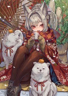 Manga Drawing Design ✨Kitsune and poppy ✨ - Anime Neko, Manga Kawaii, Chica Anime Manga, Kawaii Anime Girl, Anime Art Girl, Anime Girls, Kimono Animé, Anime Kimono, Art Manga