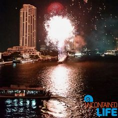 Bangkok Fireworks Chao Phraya River. Walking across the Chao Phraya River onbour way back to our temporary home for our final night in Thailand. Can't resist…Leaving Bangkok with a Bang!