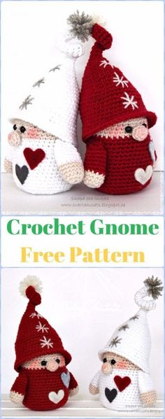 Crochet Gnome Free Pattern - migurumi Crochet Christmas Softies Toys Free Patterns