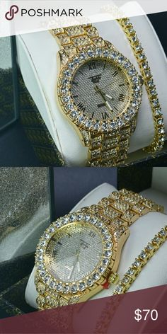 Iced outw lab diamonds w a 20in Goldtennis braclet Both gold Watch Gld Supply Accessories Jewelry