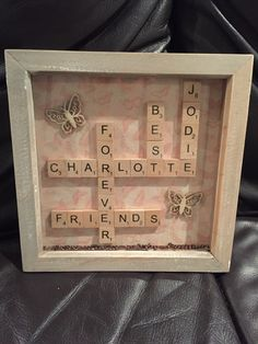 Items similar to Scrabble frame family/best friend on Etsy Framed Letters, Scrabble Frame, Tile Art, Box Frames, Craft Projects, Arts And Crafts, Unique Jewelry, Handmade Gifts, Etsy