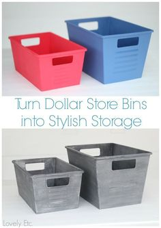 to paint plastic to look like vintage metal Awesome tutorial on how to paint inexpensive dollar store bins to look like real vintage metal!Awesome tutorial on how to paint inexpensive dollar store bins to look like real vintage metal! Dollar Store Bins, Dollar Store Crafts, Dollar Stores, Dollar Store Decorating, Dollar Tree Storage Bins, Dollar Dollar, Diy Laden, Diy Home Decor For Apartments, Diy Rangement