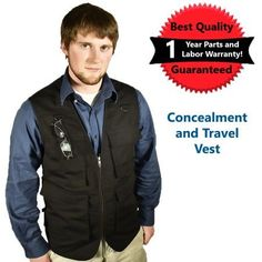 Blue Stone Safety Products Outback Concealment Vest, CCW Vest, Travel Vest, Concealed Carry Vest, Photography Vest, Outdoors Vest, Fishing Vest, Hunting Vest - Black, 6XL