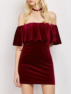 Women Velvet Off The Shoulder Bodycon Dress - WINE RED S