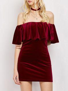 Women Velvet Off The Shoulder Bodycon Dress - WINE RED S