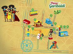 Illustrated Map of Plaza Garibaldi, Mexico City by Alex Sarmiento