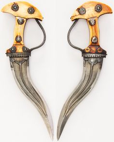 Indian khanjarli, 17th to 18th century, steel, ivory, silver,  H. 12 9/16 in. (31.9 cm); H. of blade 8 1/4 in. (21 cm); W. 3 15/16 in. (10 cm); Wt. 15.7 oz. (445.1 g), Met Museum, Bequest of George C. Stone, 1935.