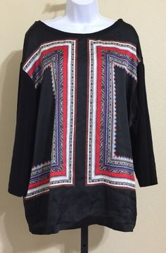 Ming Women's Black Multi-Color Front Pattern Blouse Size XL NWT #Ming #Blouse #Casual