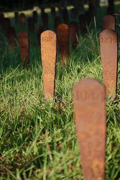 Burial markers at Cedar Lane Cemetery on the grounds of Milledgeville's Central State Hospital.