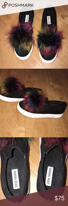 Steve Madden Rainbow Puff Ball Slip-On's Worn once! These are the cutest shoes!!! Steve Madden Shoes Sneakers