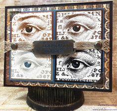 Lookout Eyes Mixed Media Ink Palette Card