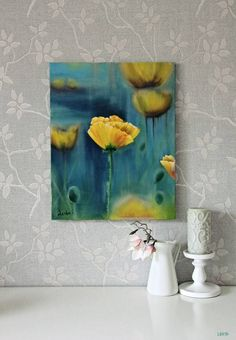 Original Oil Painting on canvas. *Title: Yellow Poppy *Size: 40x50 cm *Painting are signed by Author - Lena Fet. *Type: Original Hand Made Oil Painting on Canvas. Stretched on a frame. *Condition: Excellent Brand new. *The painting is sold unframed. *Status: This Painting is sold. I can