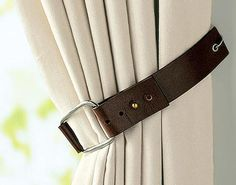 DIY Home Décor: Creative Curtain Tie Back Ideas | See Through Insurance Blog. (plain curtains, no funky top with this tie back?)