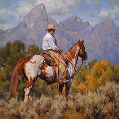 Draw Horses cowboy paintings jason rich art - These 9 tips about home bathroom remodel will be very helpful to makeover your whole bathroom more exciting even in restricted budget Cowboy Horse, Cowboy Art, Animal Paintings, Animal Drawings, Ecole Art, Southwest Art, Le Far West, Equine Art, Horse Art