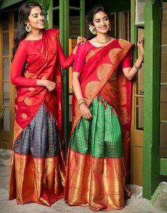 silk half sarees Half Saree Lehenga, Lehenga Saree Design, Saree Look, Lehenga Designs, Saree Dress, Saree Blouse Designs, Lehanga Saree, Silk Lehenga, Sharara