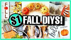 20 WAYS TO DIY DECORATE FOR FALL! (Autumn Dollar Tree DIYS to try in 2021) - YouTube Dollar Store Hacks, Thrift Store Crafts, Dollar Tree Fall, Dollar Tree Crafts, Fall Crafts, Halloween Crafts, Fall Diy, Autumn Diys, Diy Wreath