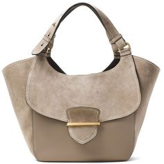 Michael Kors Collection Josie Large Suede & Leather Shopper Tote (1.950 BRL) ❤ liked on Polyvore featuring bags, handbags, tote bags, purses, bolsas, dark taupe, handbags totes, michael kors handbags, brown tote and hand bags