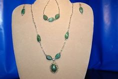 """African Jade"" Serpentine in Pewter setting 3-piece set    Manufacturer: N/A  SKU: 113  Price: $38.00  This item is in stock"