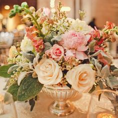 Peach and Coral Centerpieces