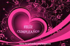 Tarjeta de cumple con un corazón rosa: Feliz Cumpleaños