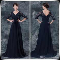 2014 Navy Blue 3/4 Long Lace Sleeve Floor Length Chiffon Mother Of The Bride Dresses Long Beaded Wedding Party Gowns