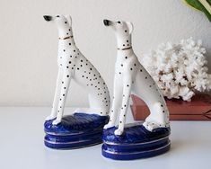 Vintage dalmatian dog bookends Fitz and Floyd pair dalmation statues