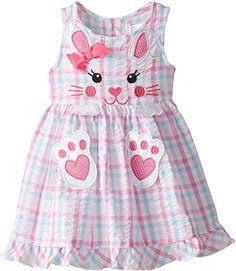 Youngland Little Girls' Plaid Bunny Face Applique Seersucker Dress, Pink/Multi, Baby Girl Dress Design, Baby Girl Dress Patterns, Little Girl Outfits, Toddler Girl Dresses, Little Girl Dresses, Toddler Outfits, Kids Outfits, Toddler Fashion, Kids Fashion