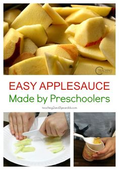 Easy Applesauce Recipe for Kids - a fun cooking activity for preschoolers at home or in the classroom. A delicious fall snack! From Teaching 2 and 3 Year Olds Cooking in the Classroom Cooking With Toddlers, Kids Cooking Recipes, Fun Cooking, Kids Meals, Cooking Classes, Cooking Corn, Cooking Turkey, Cooking School, Cooking Light