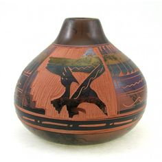 Material: pottery Height: 4-1/2 inch Width: 5-1/4 inch Handcrafted Horsehair Indian pottery Condition: new Native American Artist: Ariel Willie