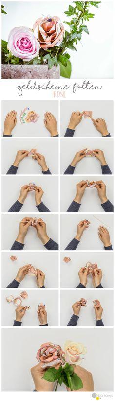 #Rose #DIY #Geldscheine #falten  Auf ROOMBEEZ zeigen wir Euch, wie Ihr mit Hilfe von Schritt-für-Schritt-Anleitungen und Videos niedliche Geldgeschenke selber basteln könnt - Schaut doch mal vorbei!