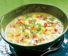Corn Chowder - 5 Smartpoints Recipe Soups with canola oil, onions, celery, red bell pepper, garlic, ground cumin, reduced sodium chicken broth, chopped fresh thyme, bay leaf, frozen corn kernels, potatoes, corn starch, nonfat evaporated milk, salt, freshly ground pepper, cayenne pepper