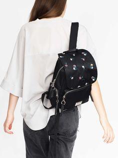 Taschen Nylon Rucksäcke Schwarz, Schwarz