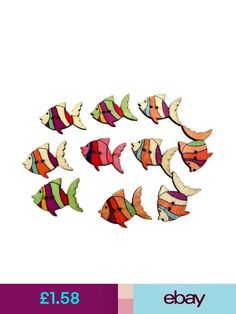 50x Wooden Buttons Fish Sea Animals Embellishment Crafts Sewing Cardmaking