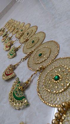 Diwali Decoration Items, Thali Decoration Ideas, Diwali Decorations At Home, Diwali Diy, Diwali Craft, Diy Home Crafts, Diy Arts And Crafts, Gota Patti Jewellery, New Year Rangoli