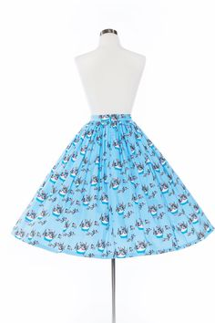 Pinup Couture Jenny Skirt in Mary Blair Cat Print in Gray | Pinup Girl Clothing