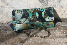 Crossbody Clutch - Hand Painted Clutch - Small Handbag - Leather Clutch - Messenger Bag - Handpainted Bag - Painted Vintage - Shoulder Bag by SPIRIDONapparel on Etsy