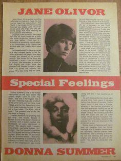Donna Summer, Full Page Vintage Clipping, Jane Olivor 1970s Music, Vintage Clip, Songs, Artist, Summer, Summer Time, Artists, Summer Recipes, Amen