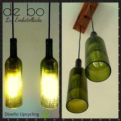 Lámpara de techo reciclada, modelo Brada Dúo, creada con botellas verdes craqueladas, y florón de madera recuperada de pallets, color roble. Pipe Lamp, Mason Jar Lamp, Diy, Table Lamp, Lighting, Green, Macrame, Bottles, Youtube