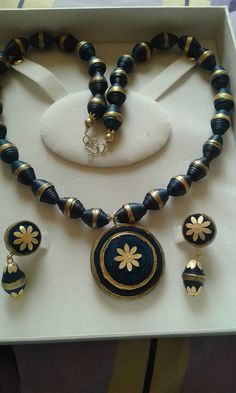 Gold and Turquoise Blue Necklace with Earrings (All Handmade - Paper Beads)