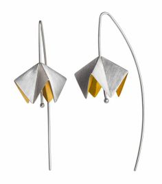 Anne Bader - Earrings: Calotta, 2011   Sterling silver partially gold plated