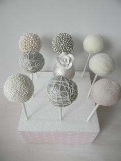 Gray Wedding Cake Pops This might be fun to do.