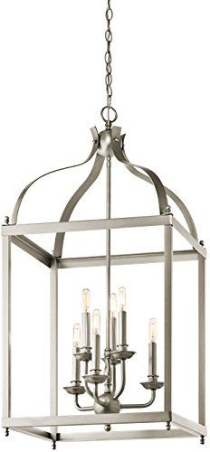 Check CHANDELIER Kichler Larkin Chandelier, 6 Light Incandescent 360 Total Watt This 6 light foyer pendant cage from the Larkin? collection creates a strong, linear silhouette. The Brushed Nickel? Foyer Pendant Lighting, Foyer Chandelier, Farmhouse Chandelier, Lantern Chandelier, Rectangle Chandelier, Lantern Pendant, Kitchen Lighting, Lanterns, Chandelier Ideas